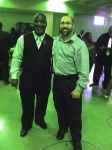 Rev. Dr. Daniel B. McKizzieof New Creation  Baptist Church (l) and Brian Kelley  Photo courtesy of Brian Kelley