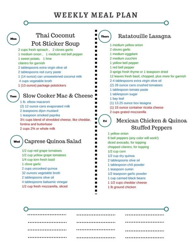 Healthy Weekly Meal Plan 21117 - Spoonful of Flavor - healthy weekly meal plans