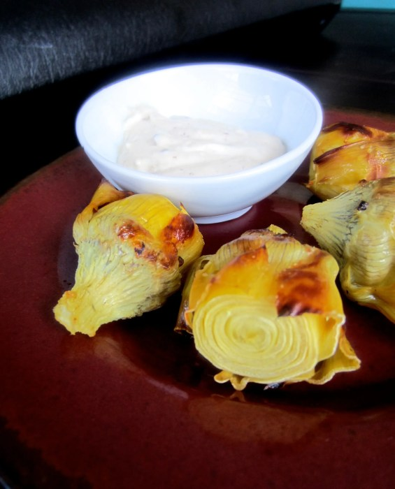 Roasted Artichoke Hearts with Horseradish Dip