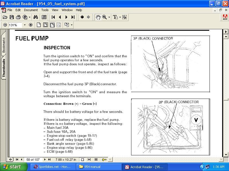Honda CBR 954RR Fuel Pump Wont Turn On - Sportbikesnet