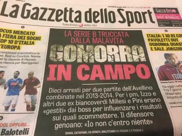 Prima pagina de La Gazzetta dello Sport dedicata al caso di cronaca delle partite truccate dalla Camorra