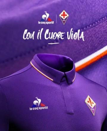 Una immagine della campagna adv di Le Coq Sportif per il lancio della maglia viola stagione 2016/17