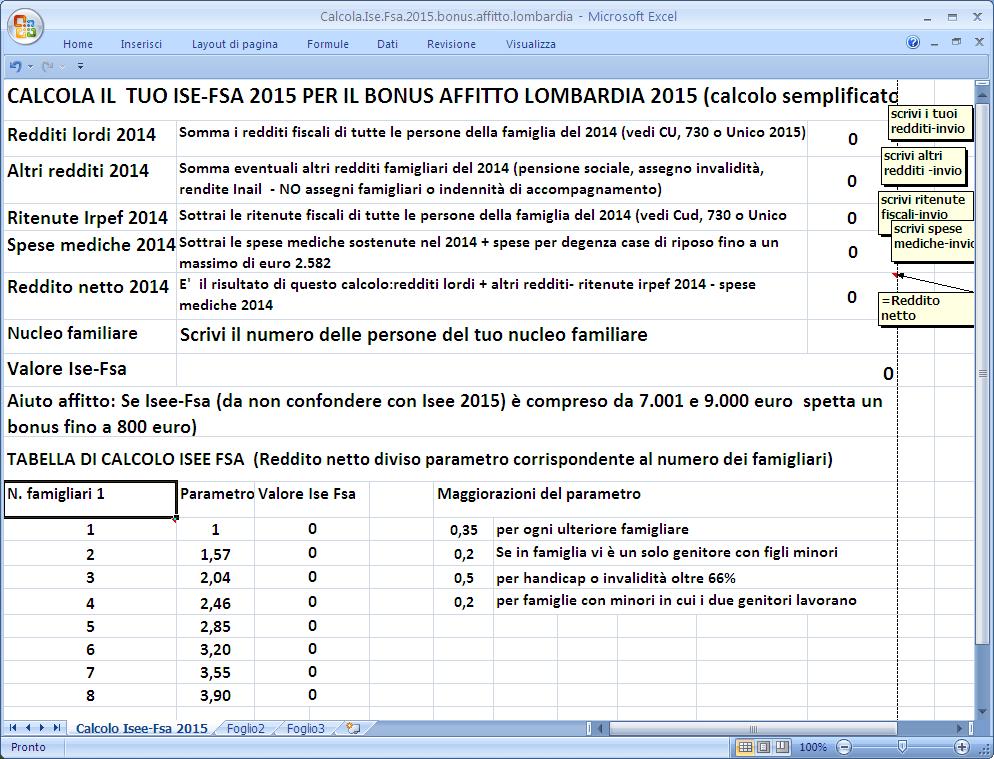 Calcola ise fsa per il bonus affitto lombardia 2015 - Calcola affitto ...