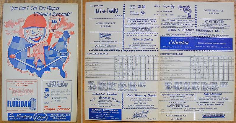 Braves v Redlegs 1958 Baseball Scorecards Pinterest - baseball score sheet
