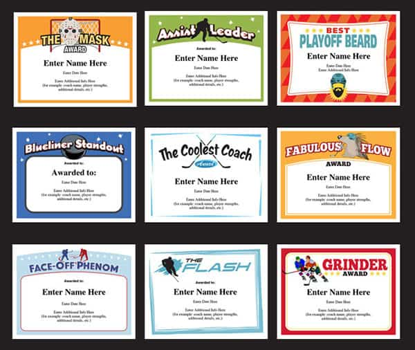 Hockey Certificates Templates Awards for Hockey Teams - Silly Certificates Awards Templates