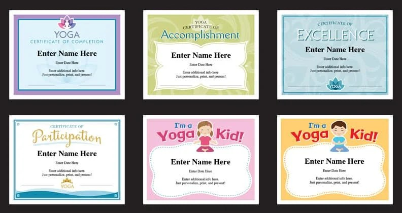 Yoga Certificates Templates Yoga Instructor Awards Yogi