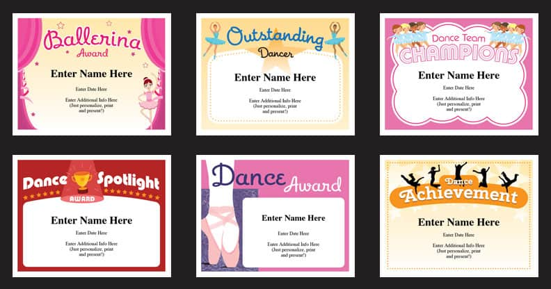 Dance Certificate Templates Dancing award certificates