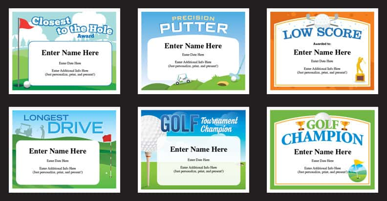 Golf Certificates Templates Recognition and Awards for Golfers - Silly Certificates Awards Templates