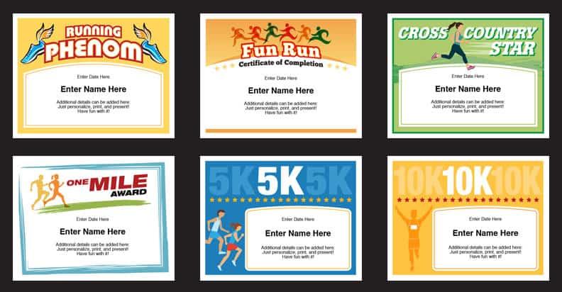 Running Certificates Templates Runner Awards Cross Country
