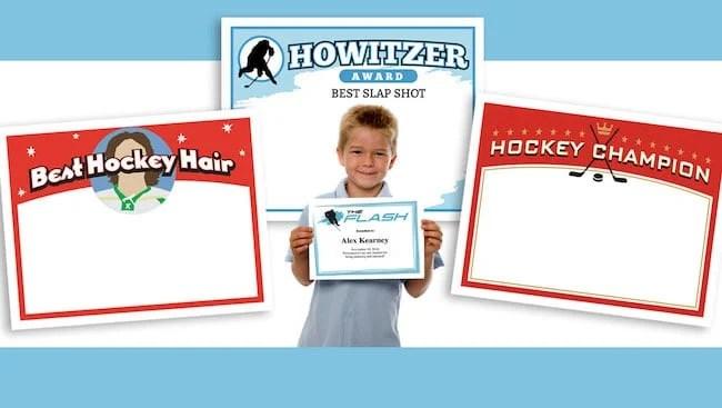 Youth Sports Award Certificates Volleyball, Basketball, Hockey