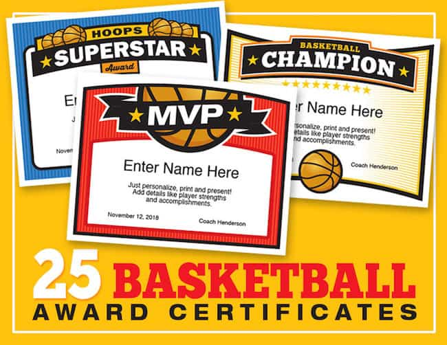 Elite Basketball Award Certificate Templates Boys and Girls Teams