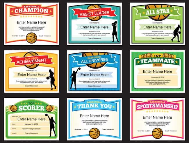 Girls Basketball Certificate Templates Sports Feel Good Stories