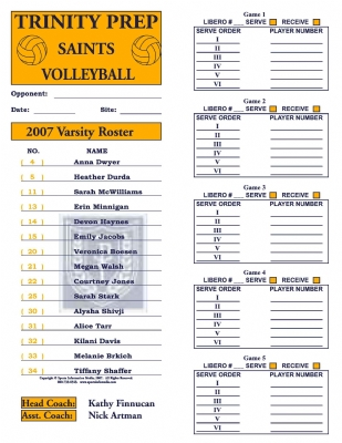 VolleyBall Roster Cards Full Page (30) - volleyball roster template