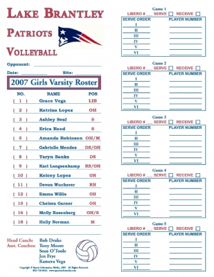 Volleyball Roster Template Soccer Lineup Template Lineup Template - volleyball roster template