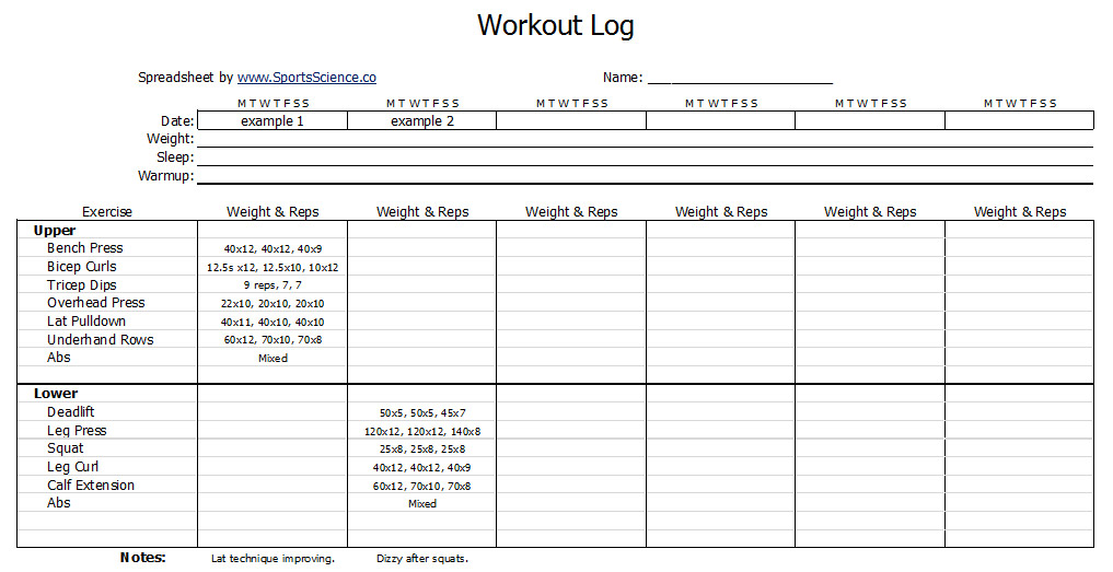 Free Workout Log Template - Sports Science  - Weight Training Log Template