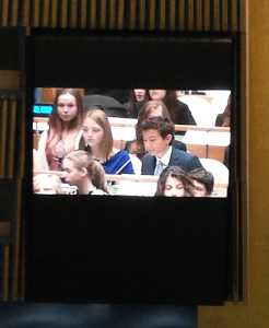 Greg Yared speaking at the Model UN about empowering women through education.