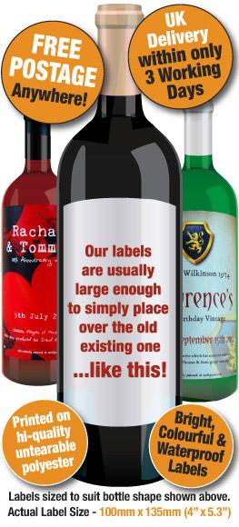 Personalised Wine Labels, Personalised Wine Bottle labels - SpottySpoon