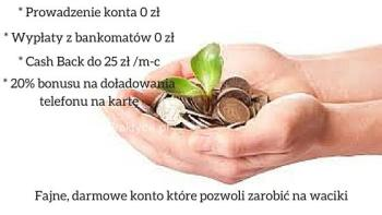 Konto prowadzone za darmo, wypłaty z bankomatów w Polsce nic nie kosztują a niewielki Casch Back pozwala zarobić na waciki. A do tego bonus na doładowania telefoniczne. Taka perełka na rynku usług bankowych.