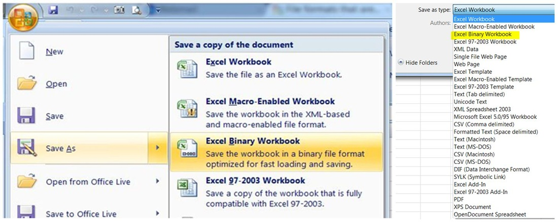 XLSX or XLSB Why to save a workbook in binary format