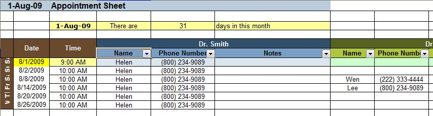 Appointment and Scheduding Spreadsheet Templates