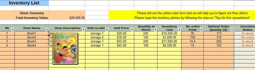 Economic Order Quantity (EOQ) Inventory Management Spreadsheet - inventory management template