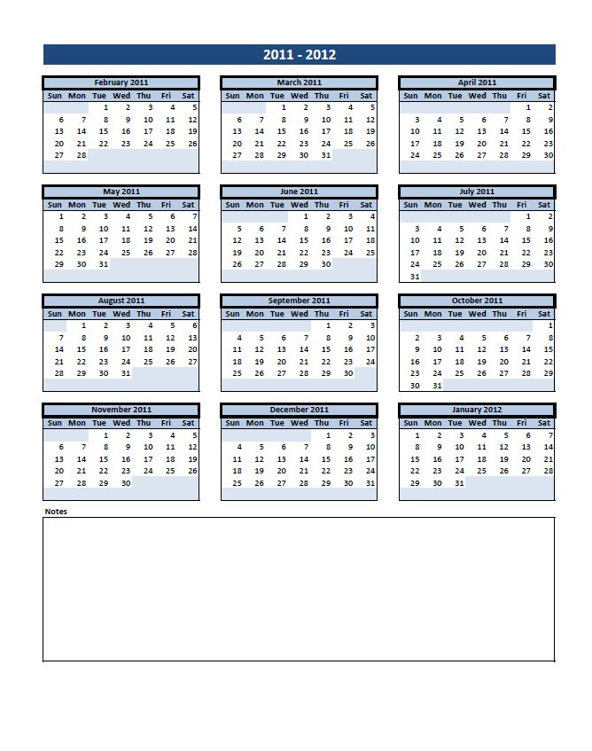 Free Calendar with Notes at the Bottom Excel Template