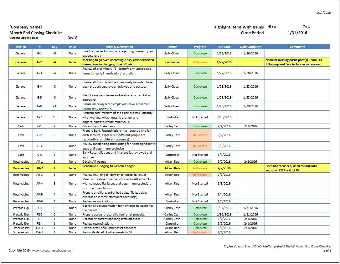 Month End Close Checklist Spreadsheetshoppe