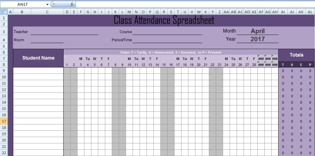 Latest Class Attendance Spreadsheet Templates Excel - Excel