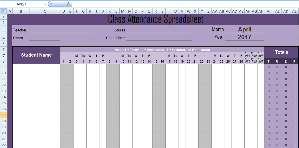 Attendance spreadsheet template excel - attendance sheet template word