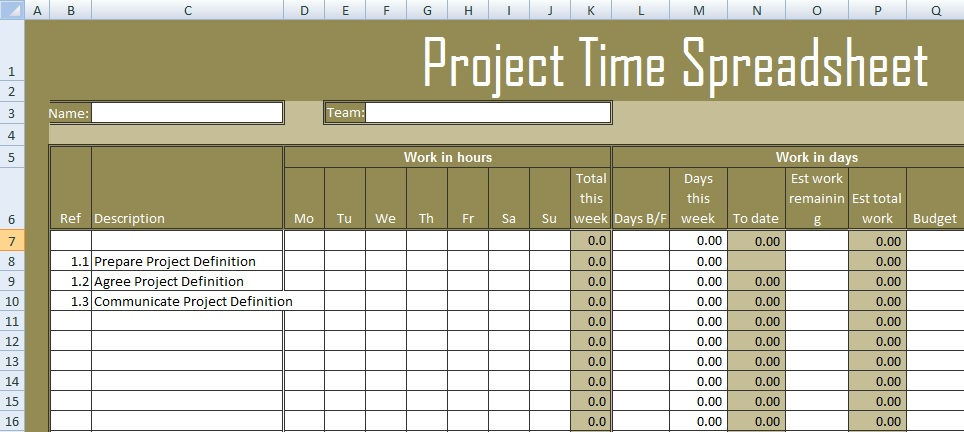 Get Project Time Spreadsheet Template Excel - Excel Spreadsheet