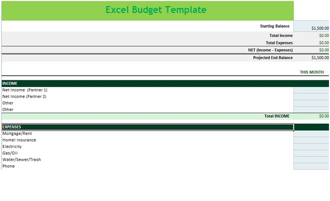 Income and Expense Budget Spreadsheet Template in MS Excel - Excel - microsoft excel budget template
