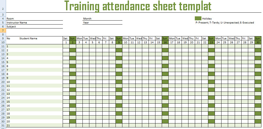 Get Training Attendance Spreadsheet Template - Excel Spreadsheet - attendance template