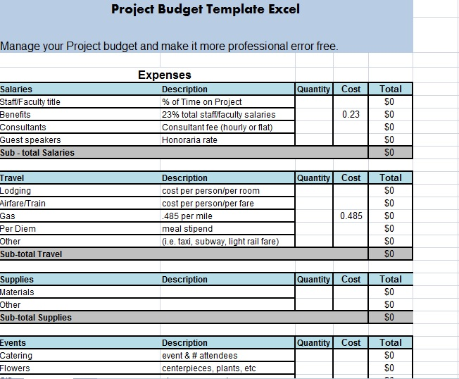 event planning cost sheet