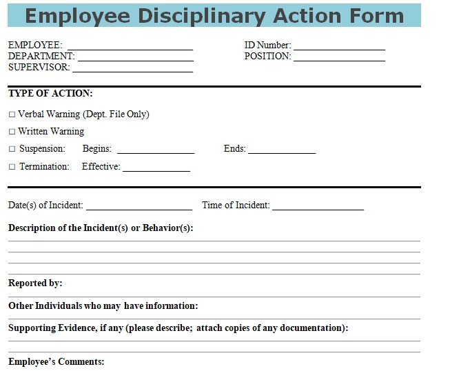 Get Employee Disciplinary Action Form DOC Template - Excel