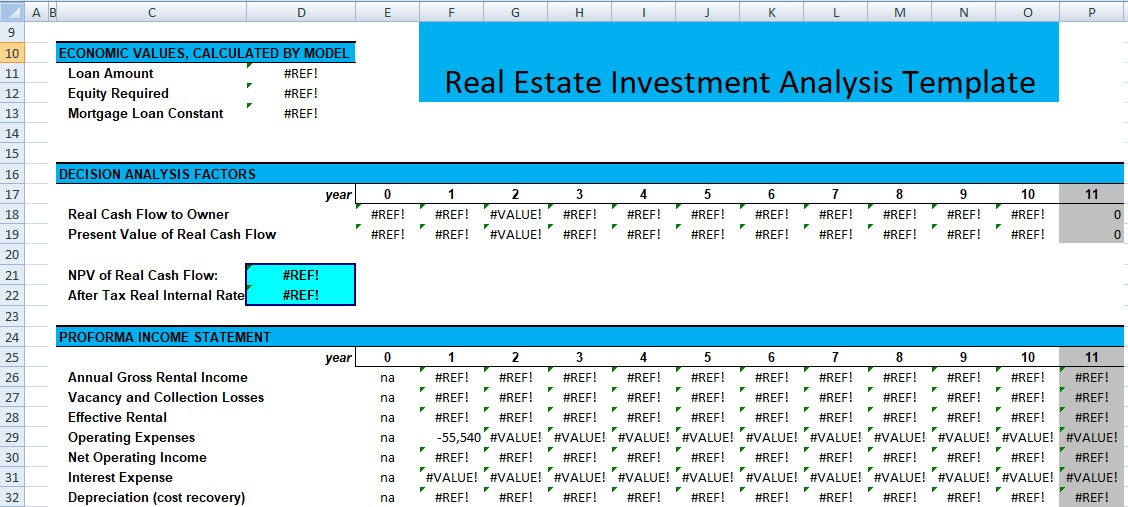 Real Estate Investment Analysis Template SpreadsheetTemple - investment analysis