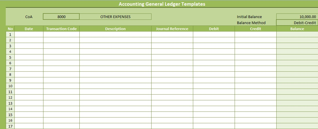 Accounting General Ledger Templates Free SpreadsheetTemple - ledger accounts template