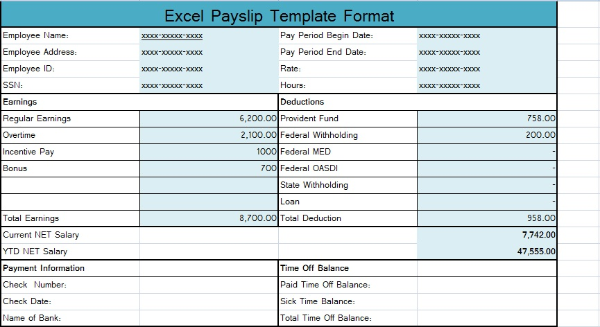 Download Excel Payslip Template Format SpreadsheetTemple - Payroll Payslip Template