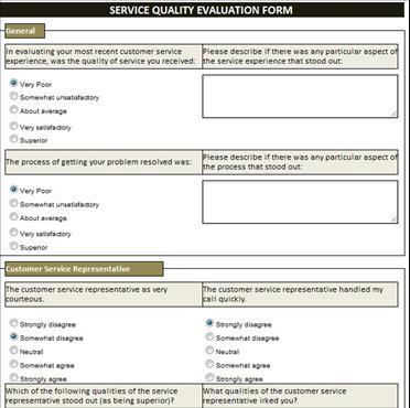Service Quality Evaluation Form