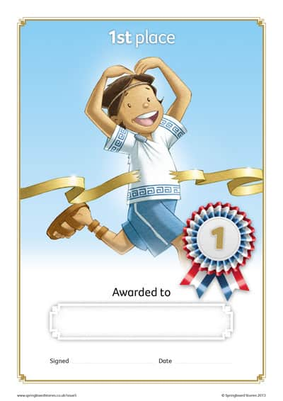 Springboard Stories - Sports Day certificates