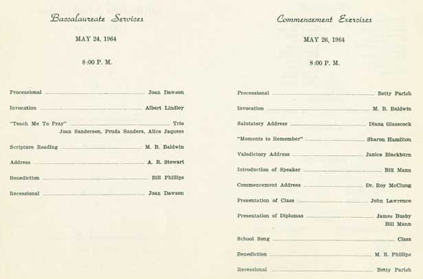 1964 Baccalaureate and Commencement Program