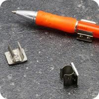 Pen holders, made of metal, self-adhesive, nickel-plated