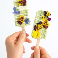 White Chocolate Basil Popsicles with Edible Flowers (Vegan, Gluten Free, Refined Sugar Free)