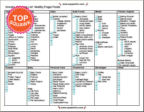 healthy grocery list template