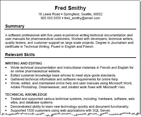 Free Resume Examples with Resume Tips - Squawkfox - Summary Of Skills Resume Sample