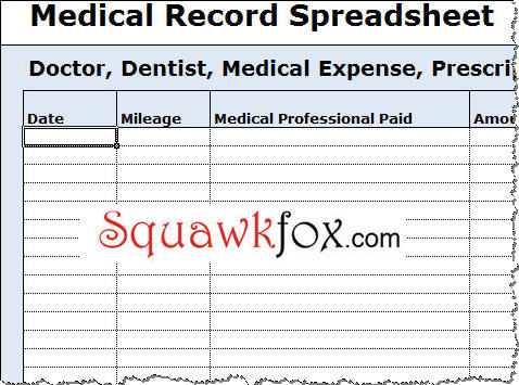 medical expenses spreadsheet - Romeolandinez