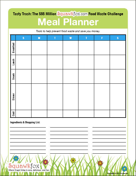 Your Meal Planning Template 3 meal planners, 1 for kids - Squawkfox