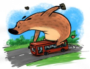 The Great Big Bear Catches a Bus.