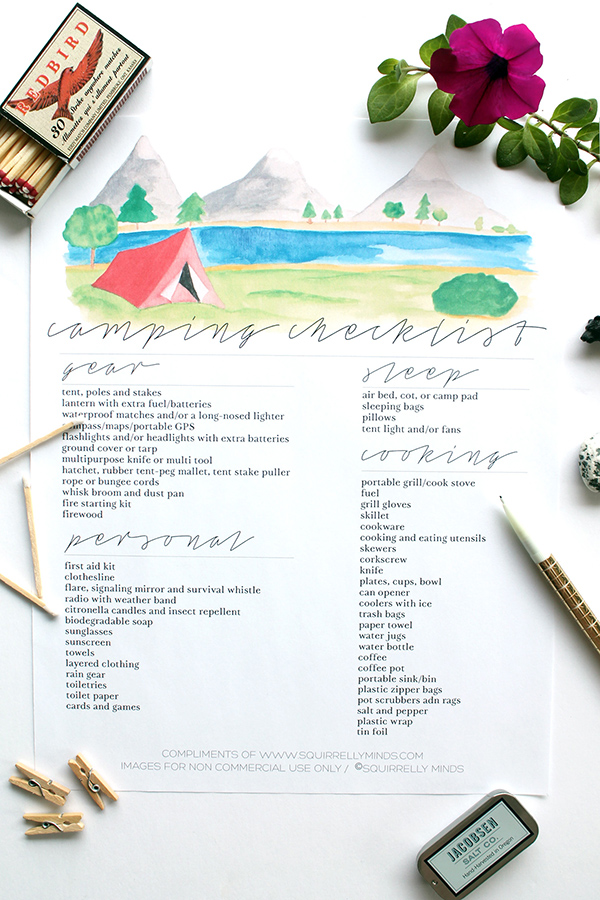 Print Printable Camping Checklist - Squirrelly Minds
