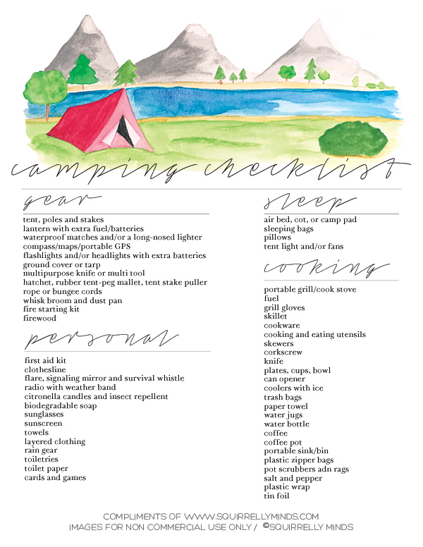 Print Printable Camping Checklist - Squirrelly Minds - sample camping checklist