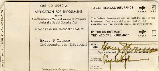 Social Security History - medicare application form